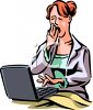 Woman Working in Bed clipart