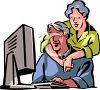 Grandparents with a New Computer clipart