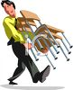 Office Worker Moving Chairs clipart