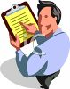 Man Reading From a Clipboard clipart