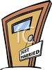 Hotel Room Door-Just Married Sign clipart