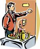 Waiter Bringing Room Service clipart