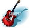 Red, Electric Guitar clipart