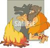 Caveman Making Shadow Animals in Front of the Fire clipart