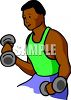 African American Man Using Small Weights clipart