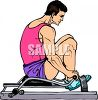 Man Using a Rowing Machine clipart