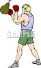 Boxer Practicing on a Bag clipart