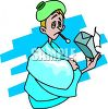 Boy Sick with the Flu clipart