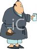 Cartoon of a Man Wearing Pajamas Taking Medicine clipart