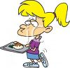 Girl Eating at the School Cafeteria clipart