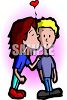 Girl with Crush on Boy Kissing Boy clipart