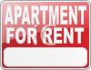 Red Apartment for Rent Sign clipart