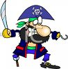 Bearded Pirate with a Hook Hand clipart