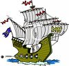 Masted Pirate Ship clipart