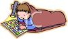 Boy Reading a Comic Book When He Should Be Sleeping clipart