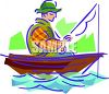 Guy, in a Row Boat, Fishing clipart