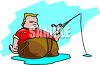 Fat Man Fishing clipart