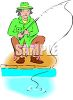 Man Fishing Off the Bank clipart