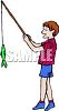 Boy Holding the Fish He Caught clipart
