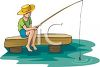Little Boy, Sitting on a Pier, Fishing clipart