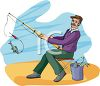 Man Fishing from the Beach clipart