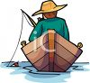Man Fishing in a Row Boat clipart