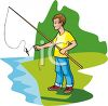 Teen Boy Fly Fishing in a Pond clipart