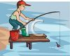 Kid Fishing From a Pier clipart