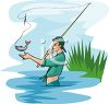 Teenage Boy Fly Fishing clipart