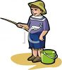Little Boy Pretending to Fish clipart