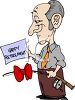 Retiring Man Receiving a Fishing Rod for a Gift clipart