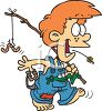 Cartoon of a Hick Boy Going Fishing clipart
