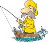 Fisherman Wearing a Yellow Rain Slicker clipart