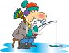 Freezing Man Ice Fishing clipart