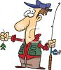 Cartoon of a Fisherman Holding a Really Small Fish clipart