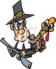 Turkey Hiding Behind Pilgrim with a Musket clipart