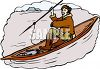 Eskimo Fishing from a Kayak clipart