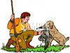 Man Taking a Bird from His Hunting Dog clipart