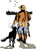 Hunter Walking with His Dog  clipart
