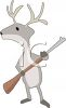 Cartoon of a Deer Holding a Rifle clipart