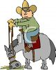 Cartoon of a Cowboy Sitting on His Horse clipart