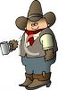 Cartoon of a Cowboy Holding a Cup of Coffee clipart