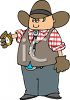 Cartoon of a Cowboy Looking at His Pocket Watch clipart