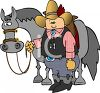 Cartoon of a Cowboy Standing Next to His Horse clipart