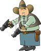 Cartoon of a Cowboy Holding Two Revolvers clipart