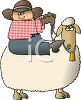 Cartoon of a Cowboy Riding a Sheep clipart