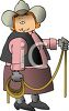 Cartoon of a Cowgirl with a Lariat Rope clipart