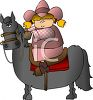 Cartoon of a Cowgirl on Her Horse clipart