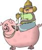 Cartoon of a Cowboy Riding a Pig clipart