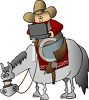 Cartoon of a Cowboy Sitting on a Horse, Using a Laptop clipart